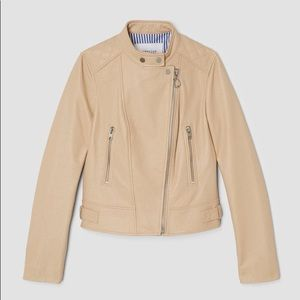 Leather Moto Jacket in Sand